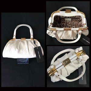 Auc New Dolce and Gabbana Deerskin Pleated Handbag